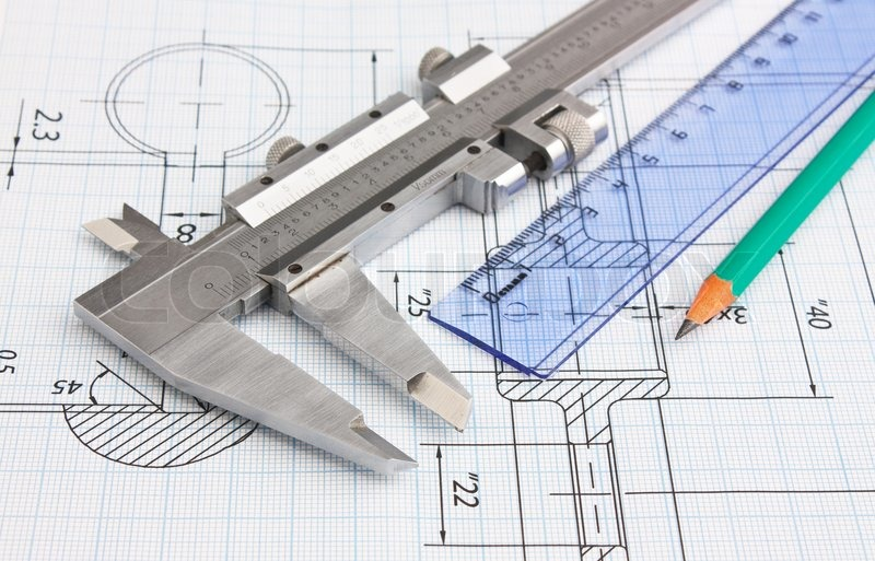 Technical drawing and caliper, stock photo