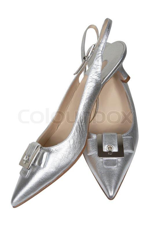 d0f156b8242766 Weibliche silberne Schuhe auf weißem ...