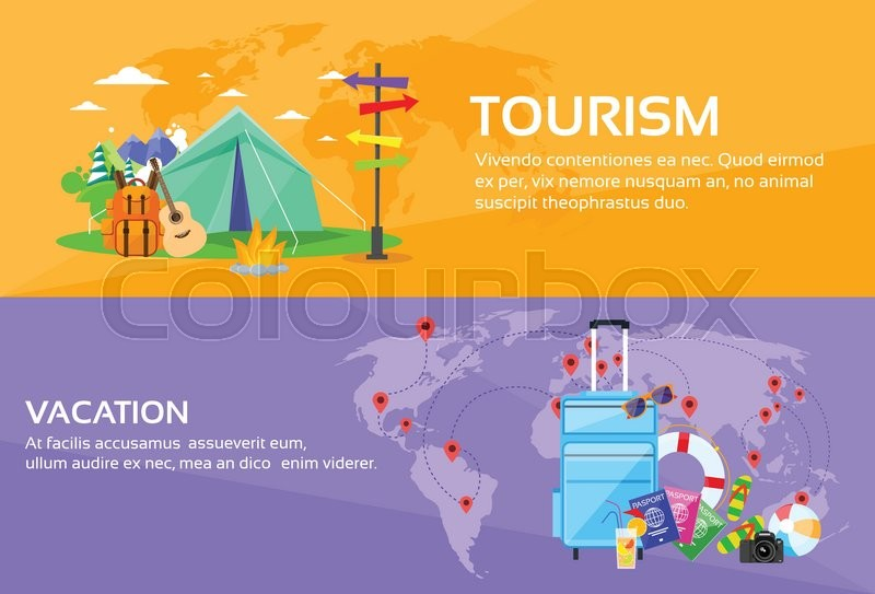 Tourism travel vacation trip destinations world map tent camping tourism travel vacation trip destinations world map tent camping forest mountain expedition web banner set flat vector illustration stock vector gumiabroncs Choice Image