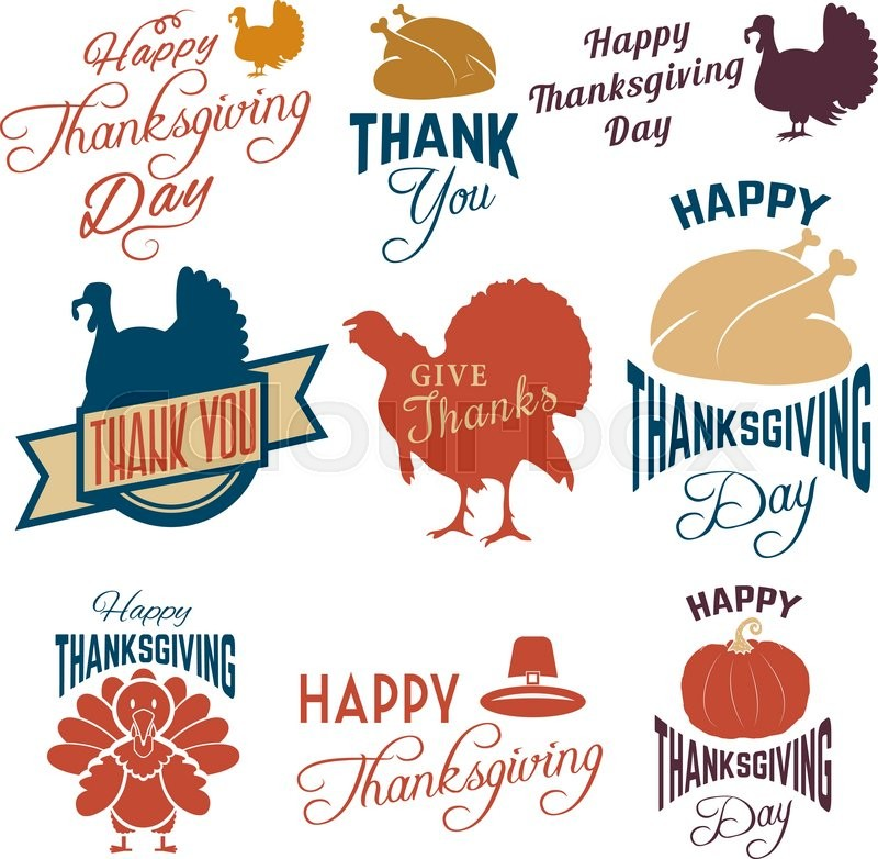 Set of Thanksgiving clip-art. Vector tags, labels and badges with ...