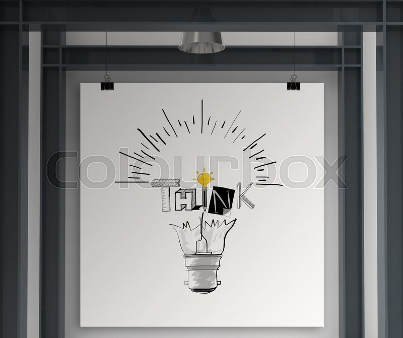 Holding poster show hand drawn light bulb and THINK word design as concept, stock photo