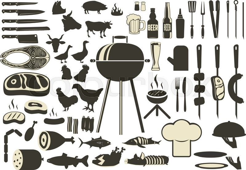 Barbecue Bbq Silhouette Set Grilled Meat And Fish Beer