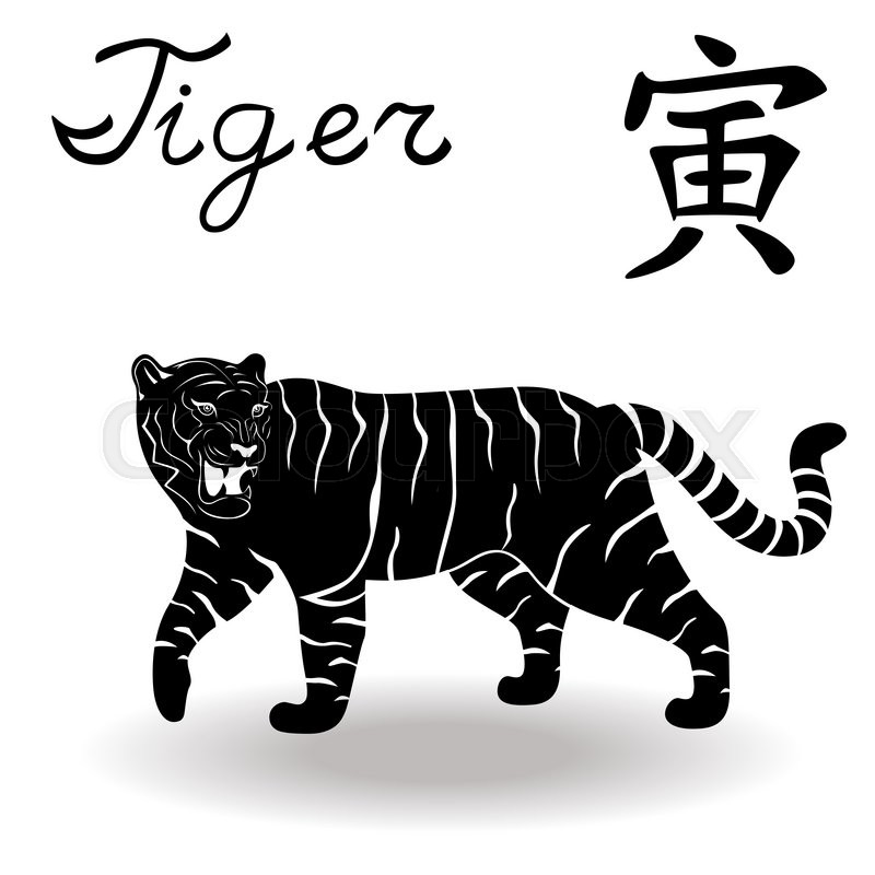 Chinese Zodiac Sign Tiger Fixed Element Wood Symbol Of New Year On