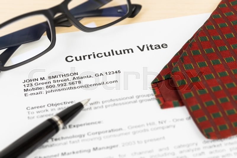 Curriculum vitae or CV with pen, glasses, and neck tie; CV and information are mock-up, stock photo