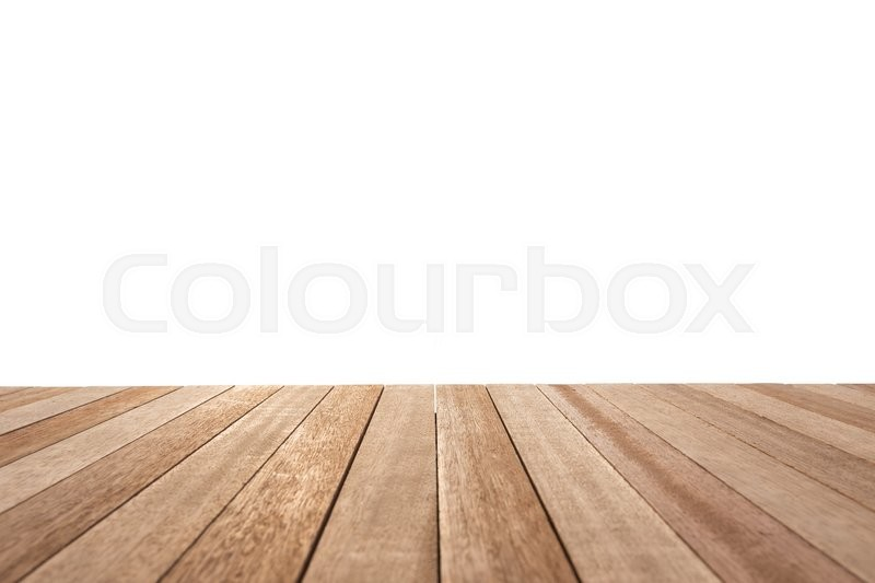 Empty top of wooden table or counter isolated on white background. For product display, stock photo