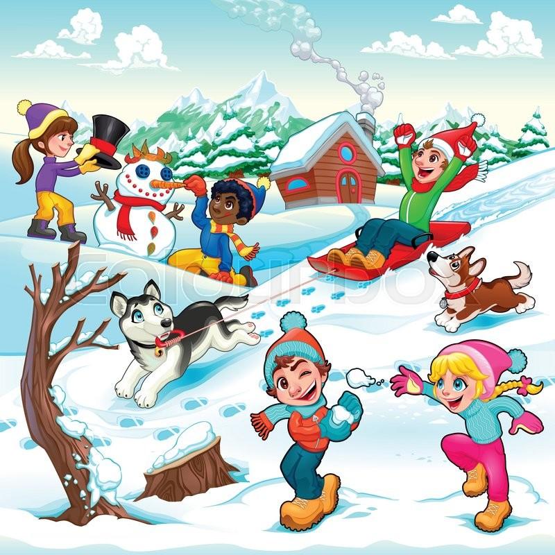 funny winter scene with children and dogs cartoon vector rh colourbox com Snowy Winter Scenes Snowy Winter Scenes