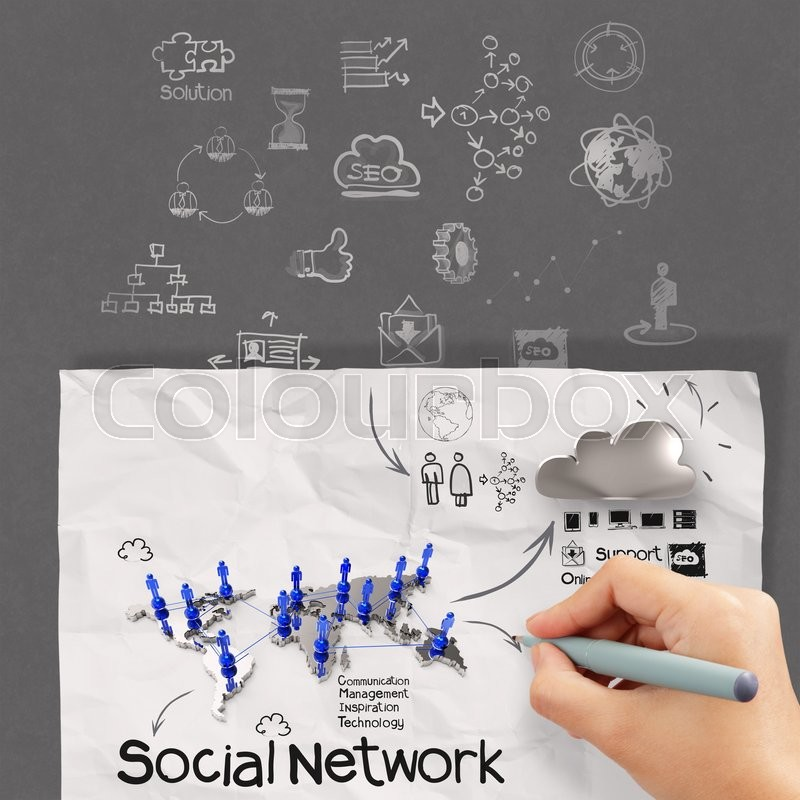 Hand drawing diagram of social network structure as concept, stock photo