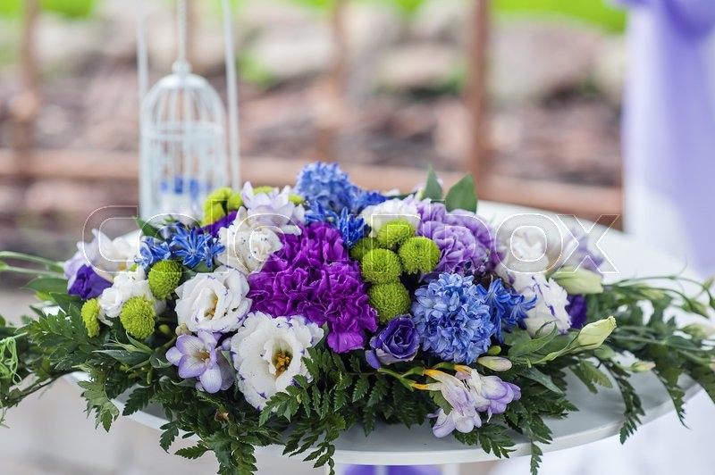 Flower arrangement at the wedding ceremony, stock photo