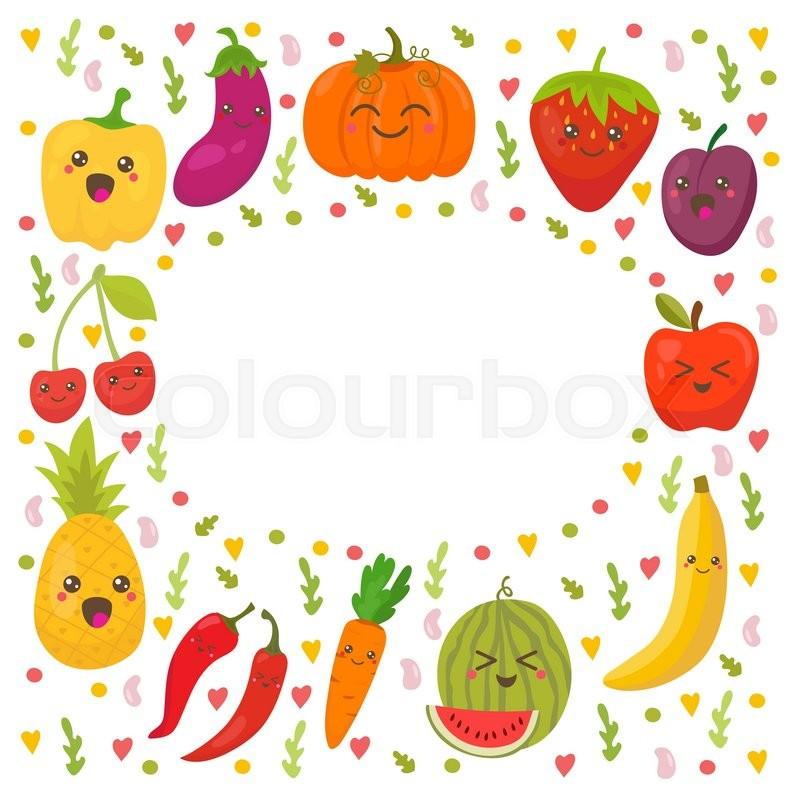 Healthy Food Frame Cartoon Images