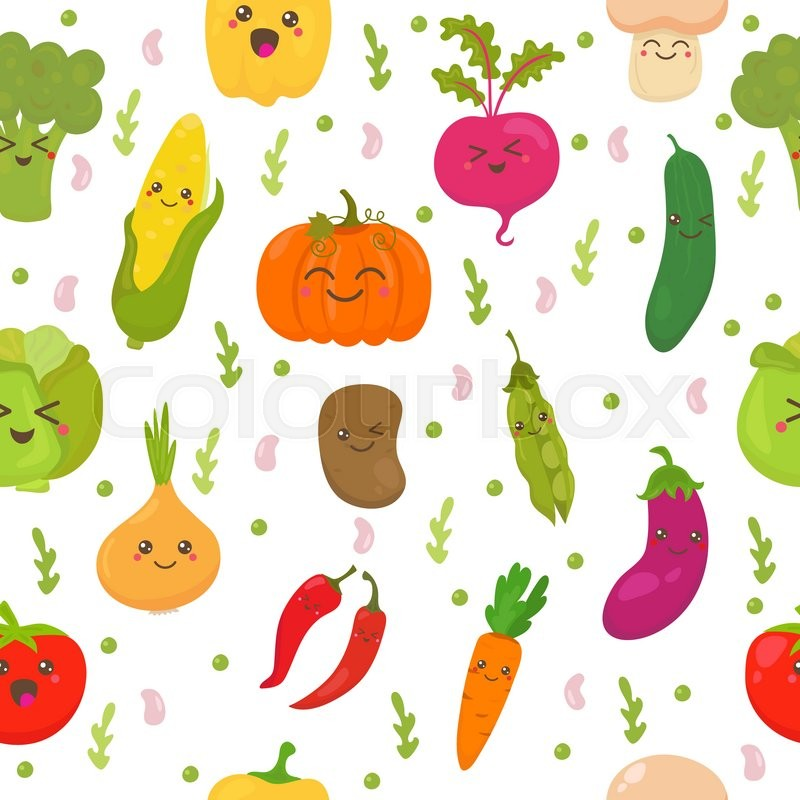 Seamless pattern with vegetables. Cute background. Happy ... Happy Vegetables