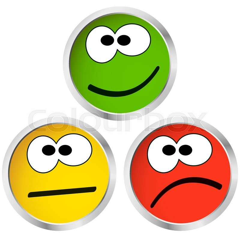 three buttons with happy neutral and sad emotion faces stock