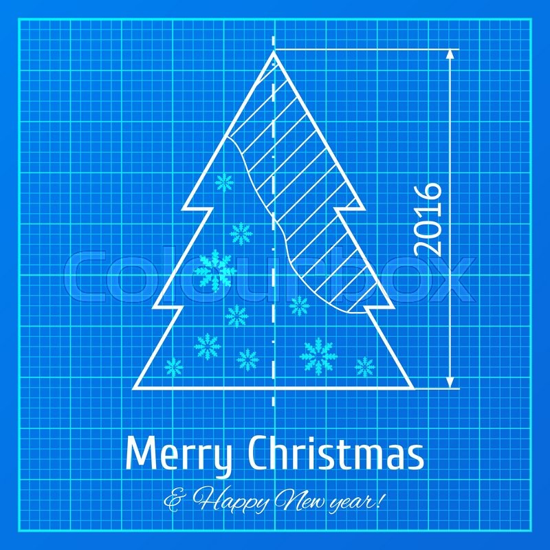 Christmas tree sketch on blue rchitect graph paper project christmas tree sketch on blue rchitect graph paper project vector illustration for new year 2016on blueprint technology architect stock vector malvernweather