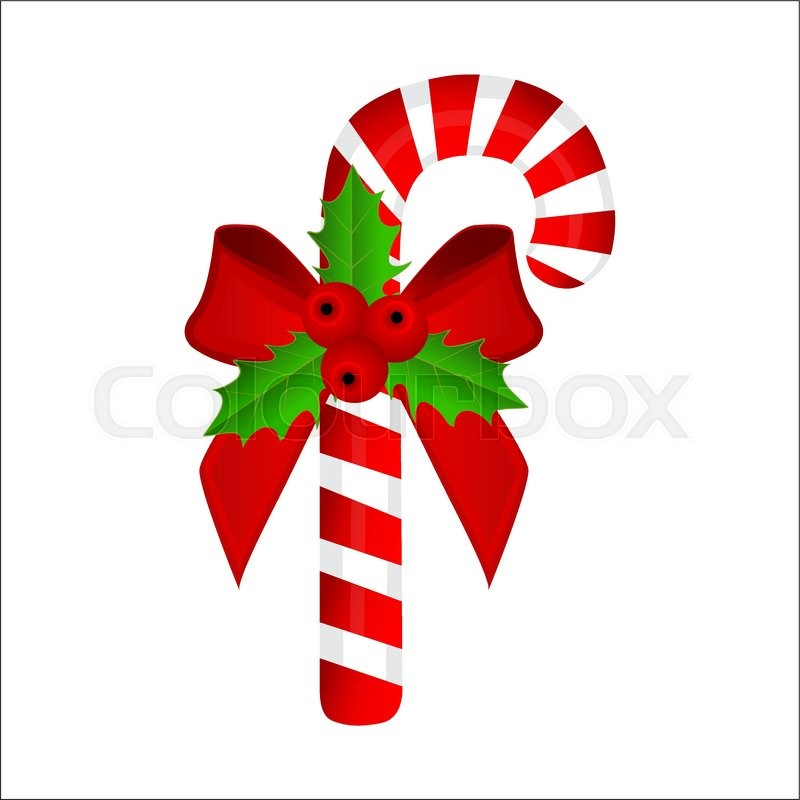 sweet traditional christmas candy cane on white background stock vector colourbox