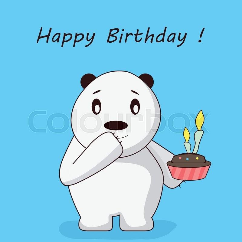 happy birthday polar bear cartoon stock vector colourbox
