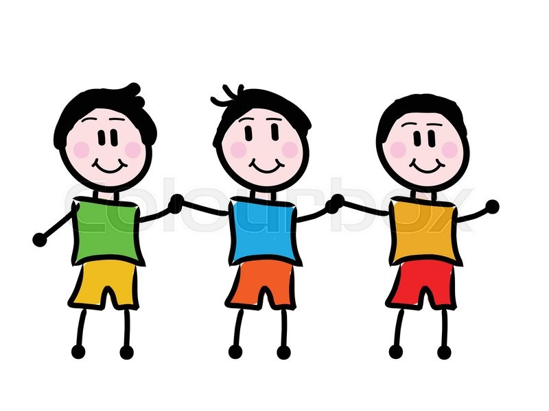 Kids Holding Hands Cartoon Hand Drawn