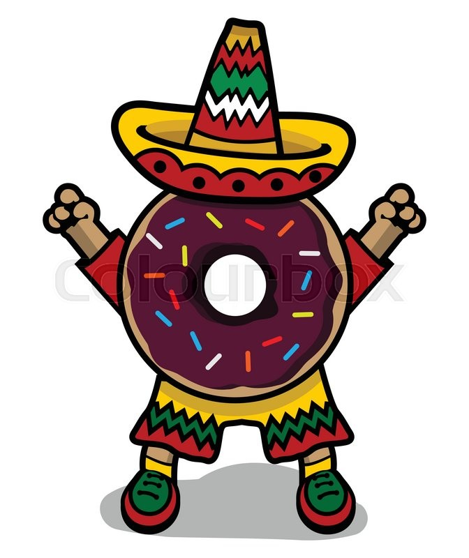 Cartoon Doughnut Factory: Cartoon Mexican Donut With Sombrero