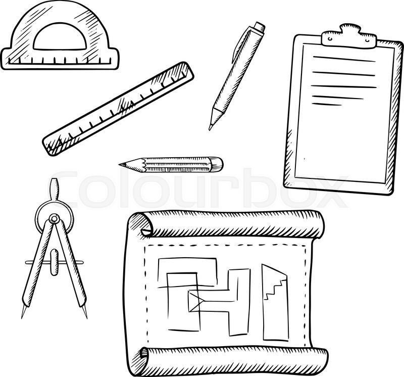 Architect Drawing Compasses Pencil Pen Ruler Half