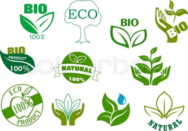 Bio Eco And Natural Products Symbols With Green Leaves In Hands
