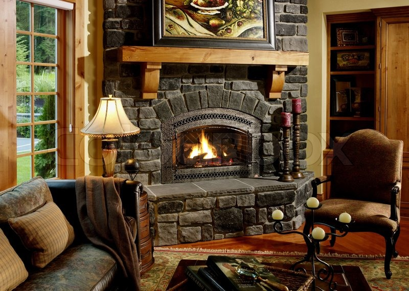 Fireplace, home, interior, beautiful, fire, fire, chimney, construction,  heating, stock photo