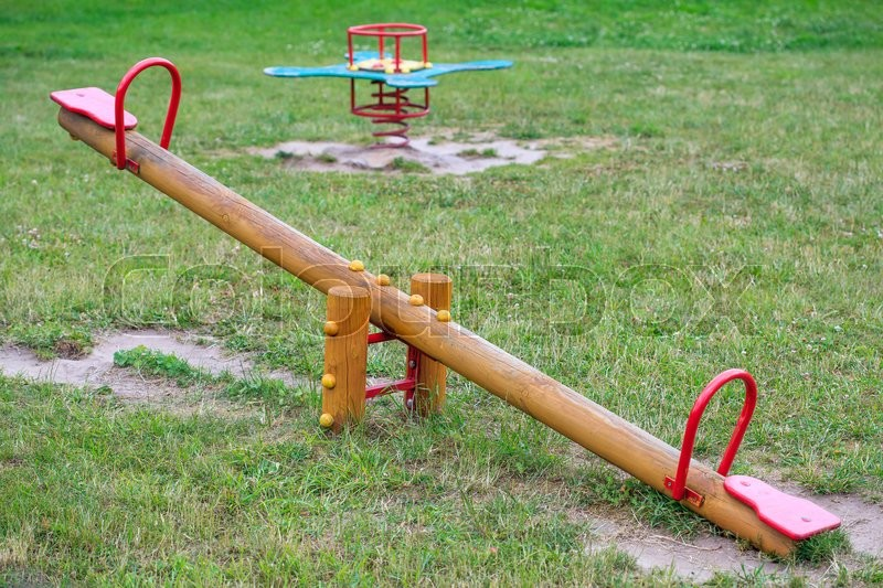 Wooden Seesaw On Playground Stock Image Colourbox