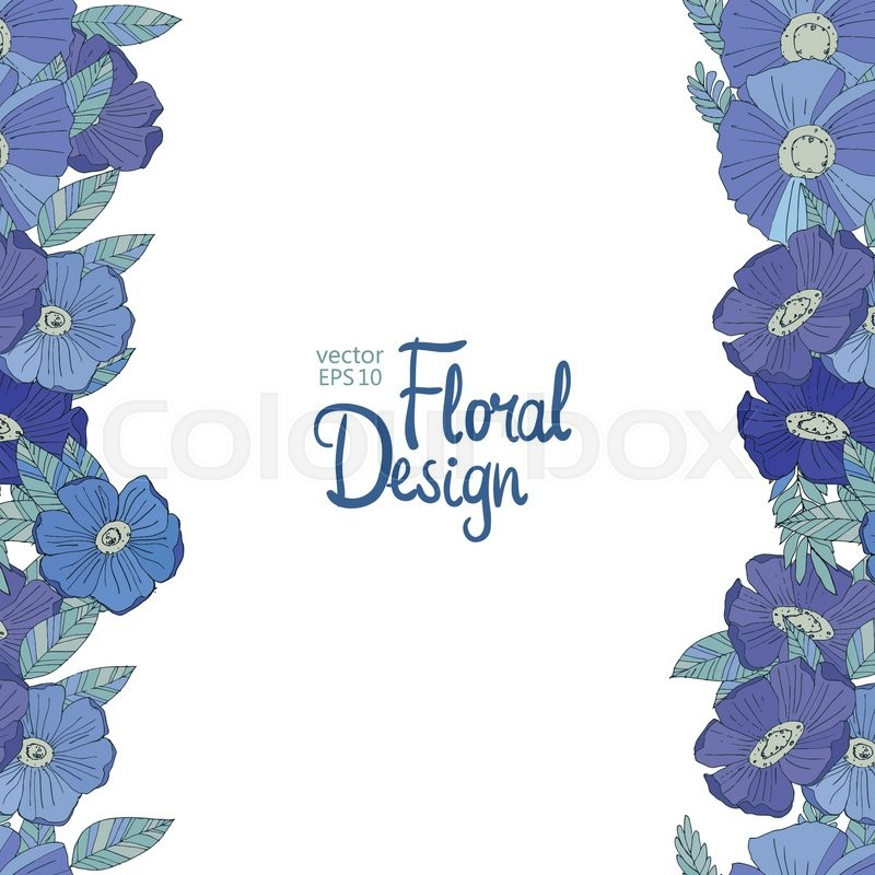 Blue Vertical Floral Border Made With Watercolor Wildflowers Design