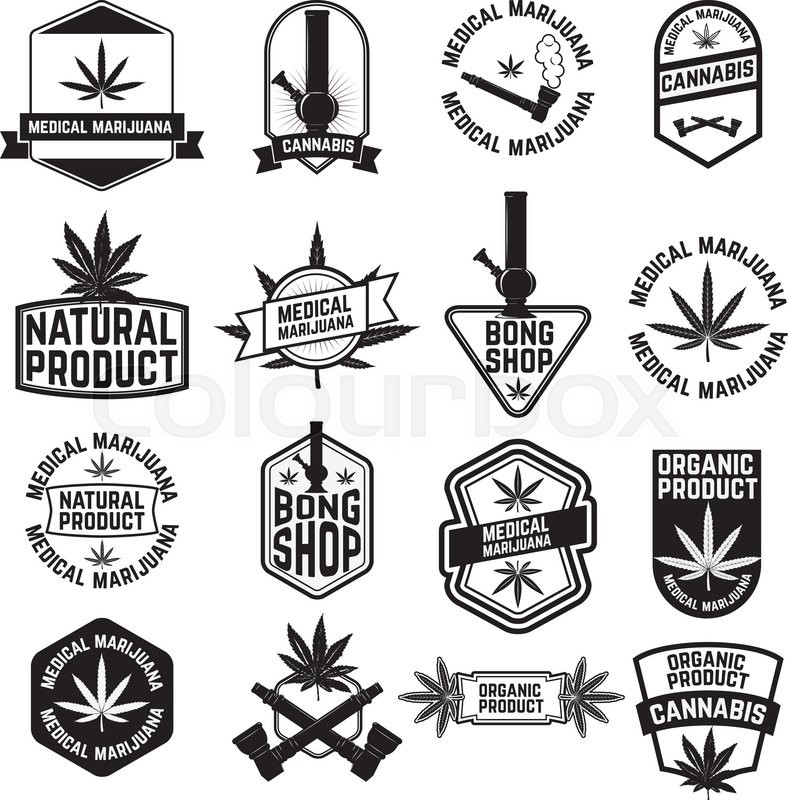 set of cannabis labels and badges cannabis leaf decorative jamaican style stamps medical marijuana label or badge design template