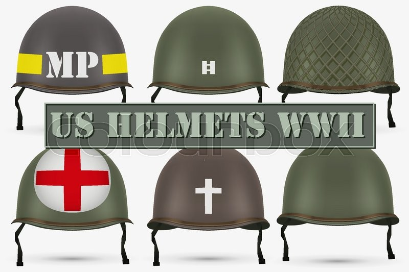 Set Of Military Us Green Helmets Infantry Of Wwii Insignia Of Medic