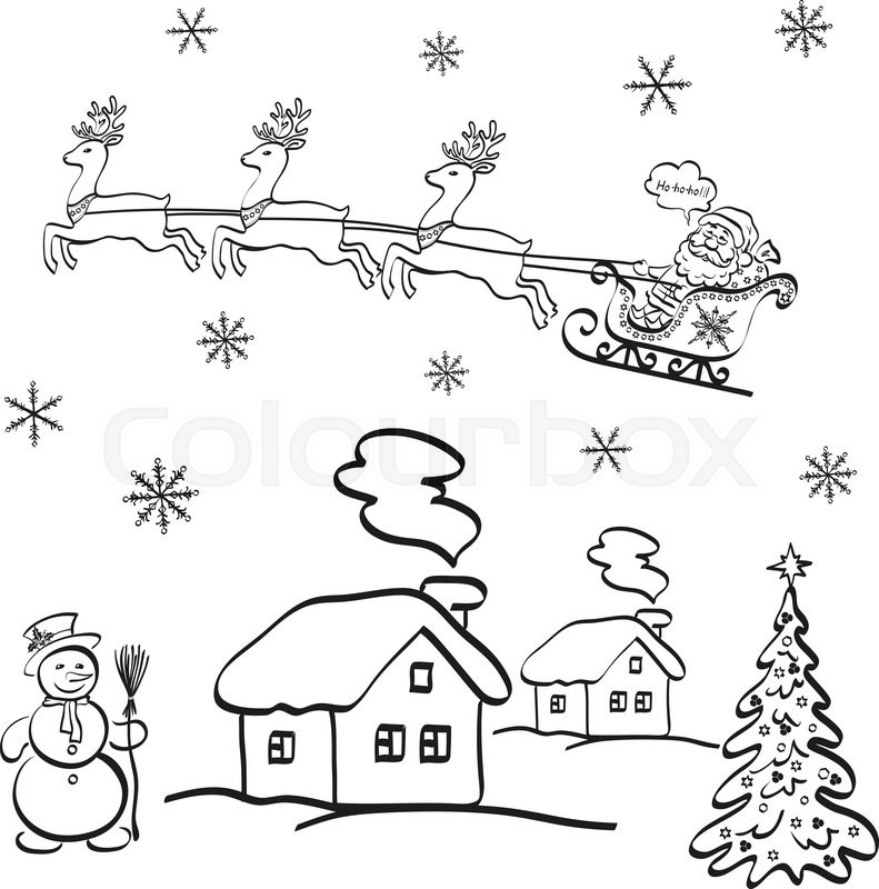 Holiday Cartoon Santa Claus Flying In Stock Vector Colourbox