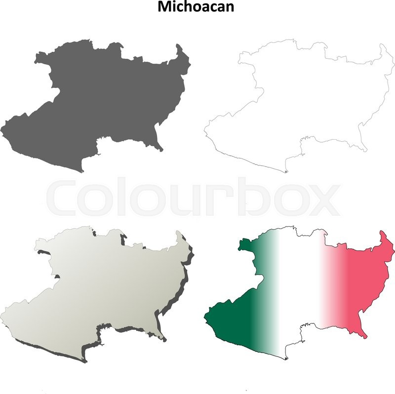 Michoacan state blank vector outline ... | Stock vector ...