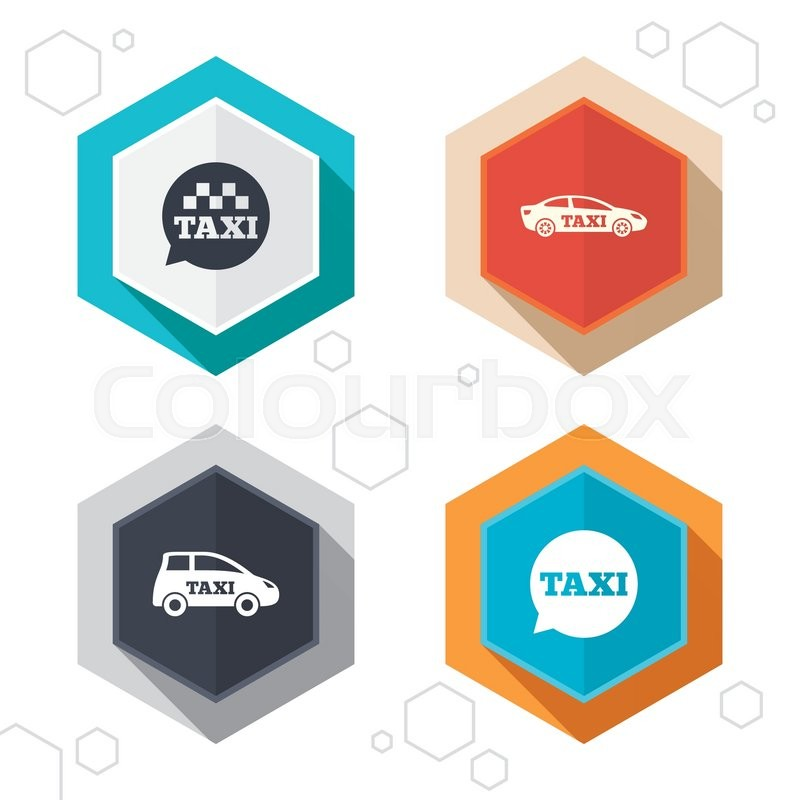 Hexagon buttons. Public transport icons. Taxi speech bubble signs. Car transport symbol. Labels with shadow. Vector, vector