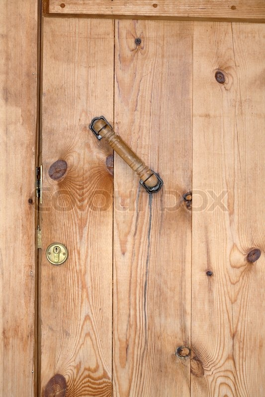 Nice Wooden Background Closed Yellow Barn Door With Lock And Handle