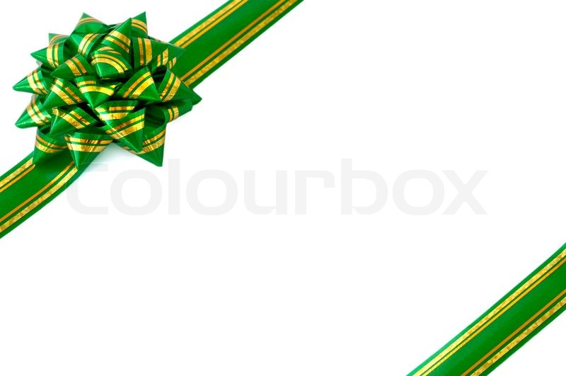 Green Christmas Bow Background Graphics: Green Ribbon Bow Isolated White ...