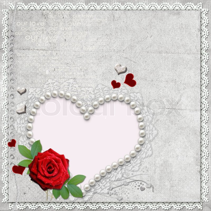 Stock image of 'Vintage elegant heart frame with rose,  lace and pearls'