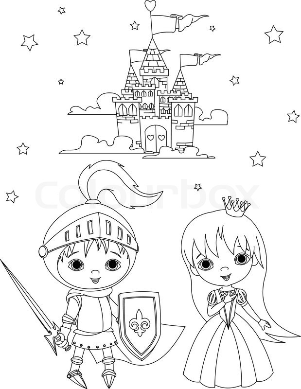 Coloring page of young knight and