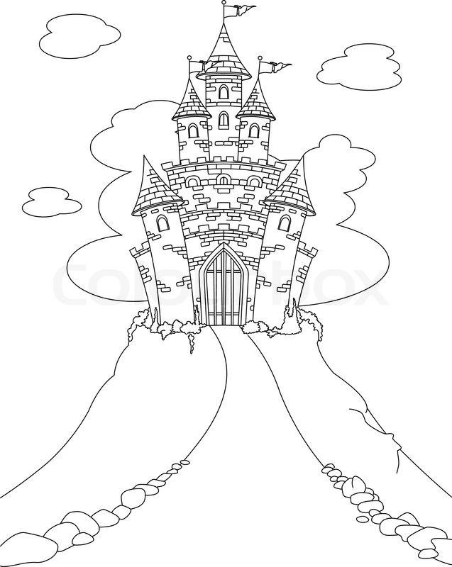 malvorlage mit magic fairy tale princess castle  stock