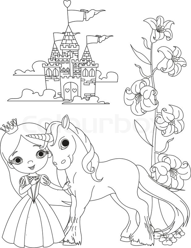 Die schöne Prinzessin und ihr süßes Einhorn Malvorlagen ...