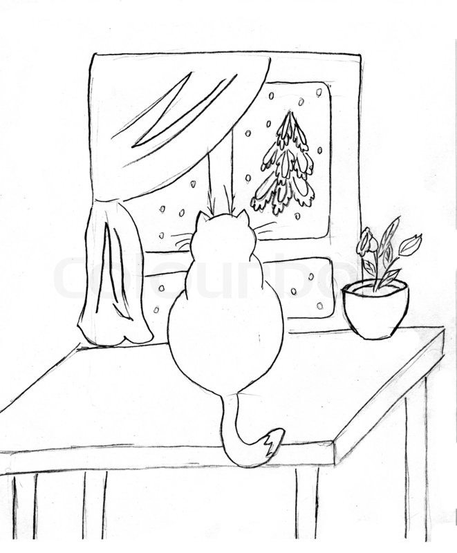 Kitchen Window Drawing: Drawing Of The Cat On Table Against ...