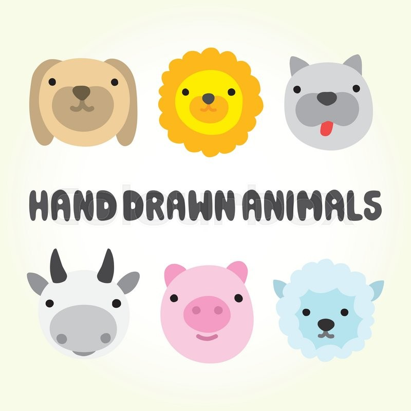 Cute cartoon farm animal heads vector set | Stock Vector ...