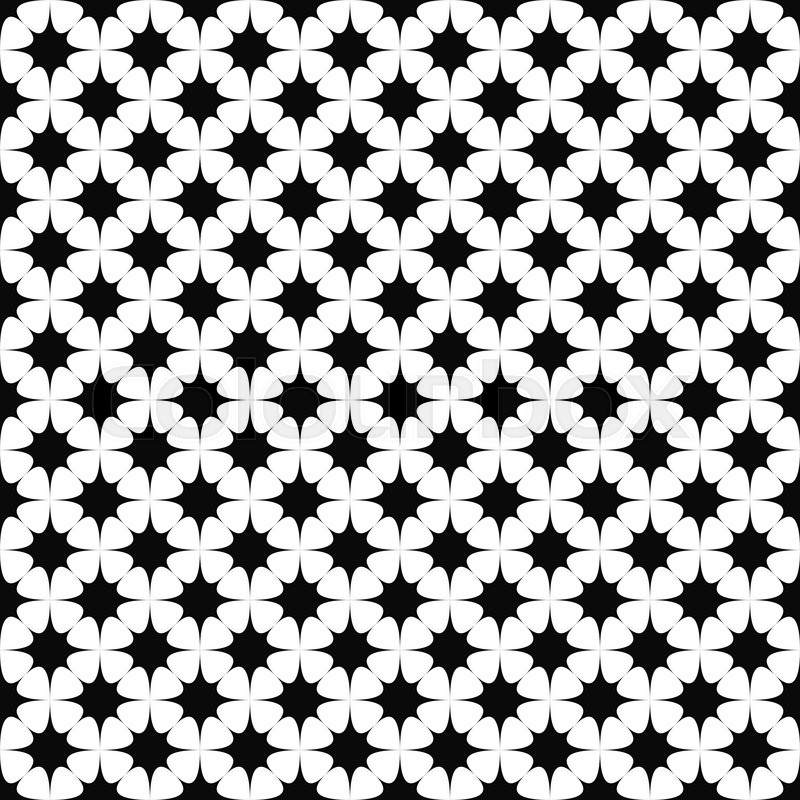 Seamless Abstract Vector Monochrome Curved Star Pattern, Vector