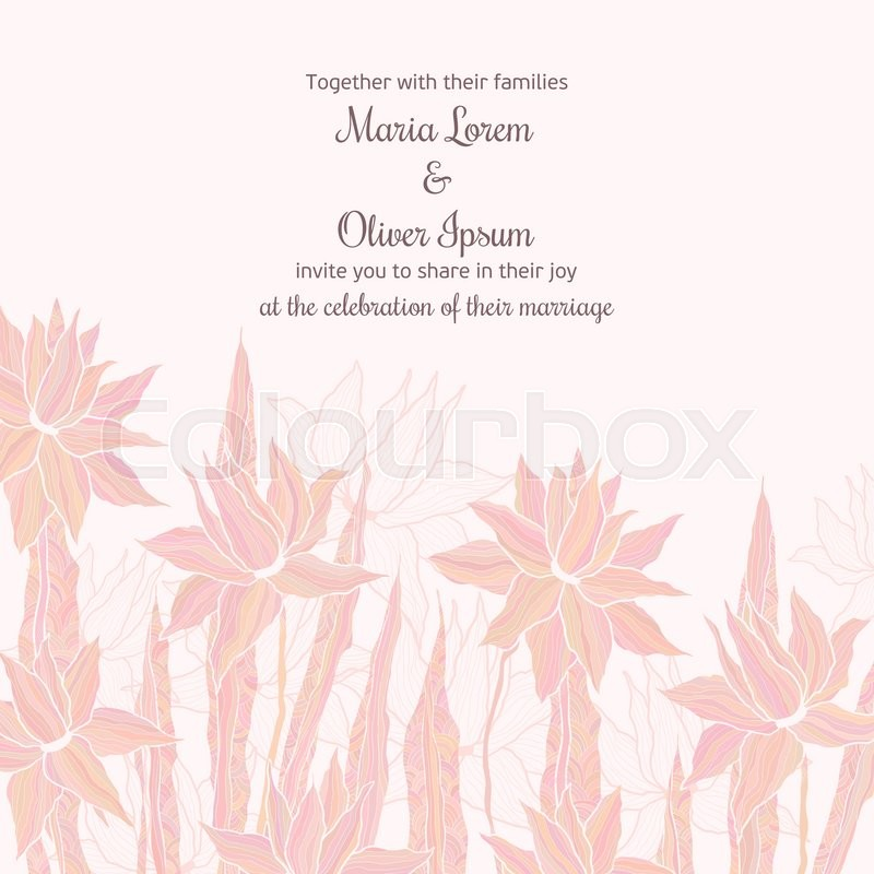 Stock Vector Of Wedding Invitation Template With Sttylish Flowers In Soft Pastel Colors