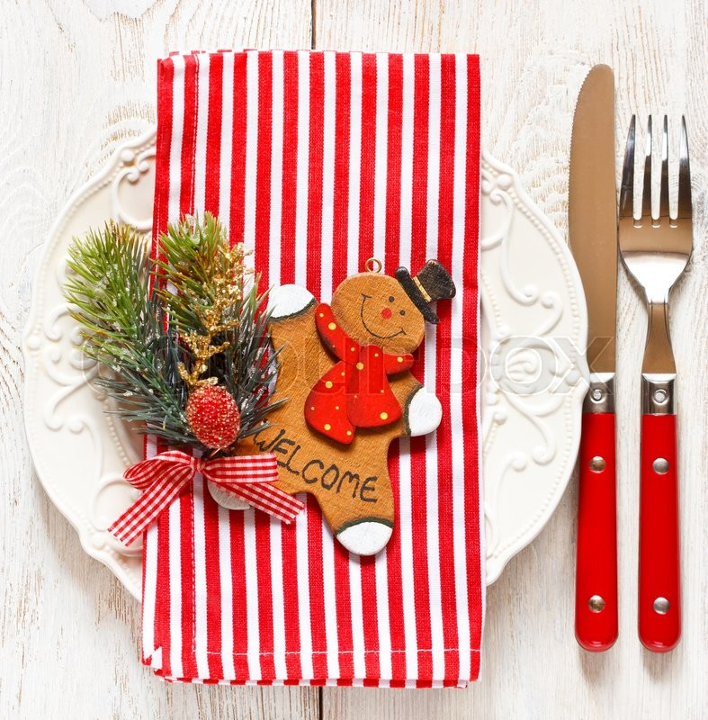 christmas table place setting elegant empty plate cutlery candy cane napkin and funny gingerbread men stock photo colourbox - Candy Cane Christmas Table Decorations