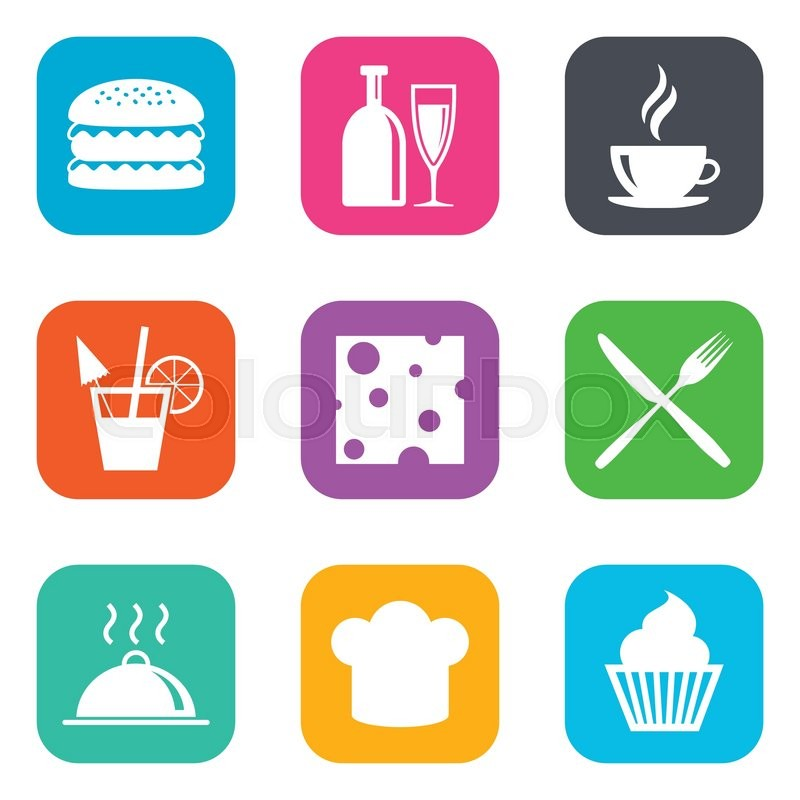Food, drink icons. Coffee and hamburger signs. Cocktail, cheese and cupcake symbols. Flat square buttons. Vector, vector