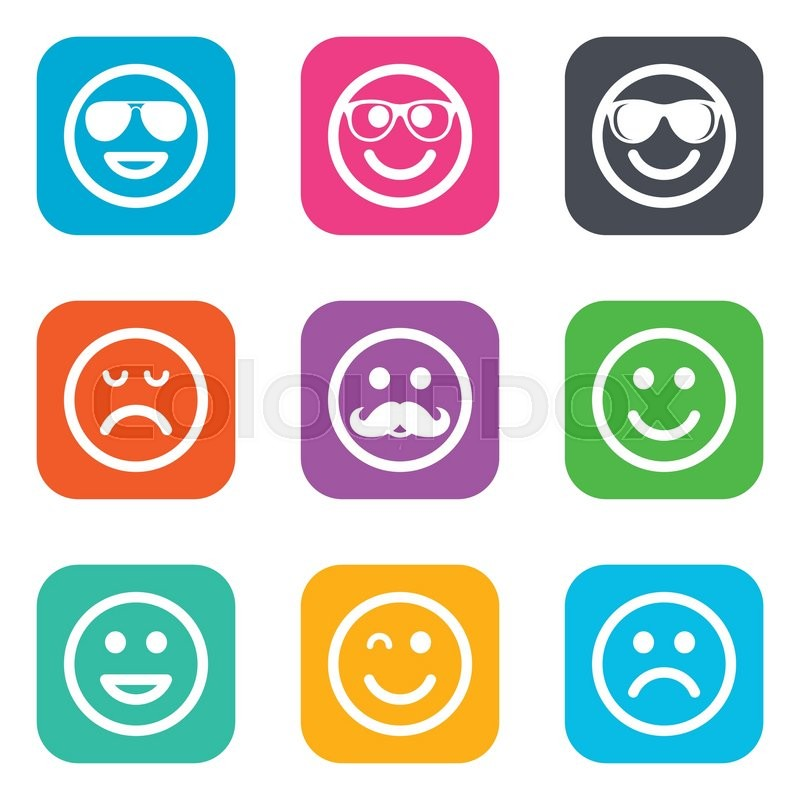 Smile Icons Happy Sad And Wink Faces Signs Sunglasses Mustache