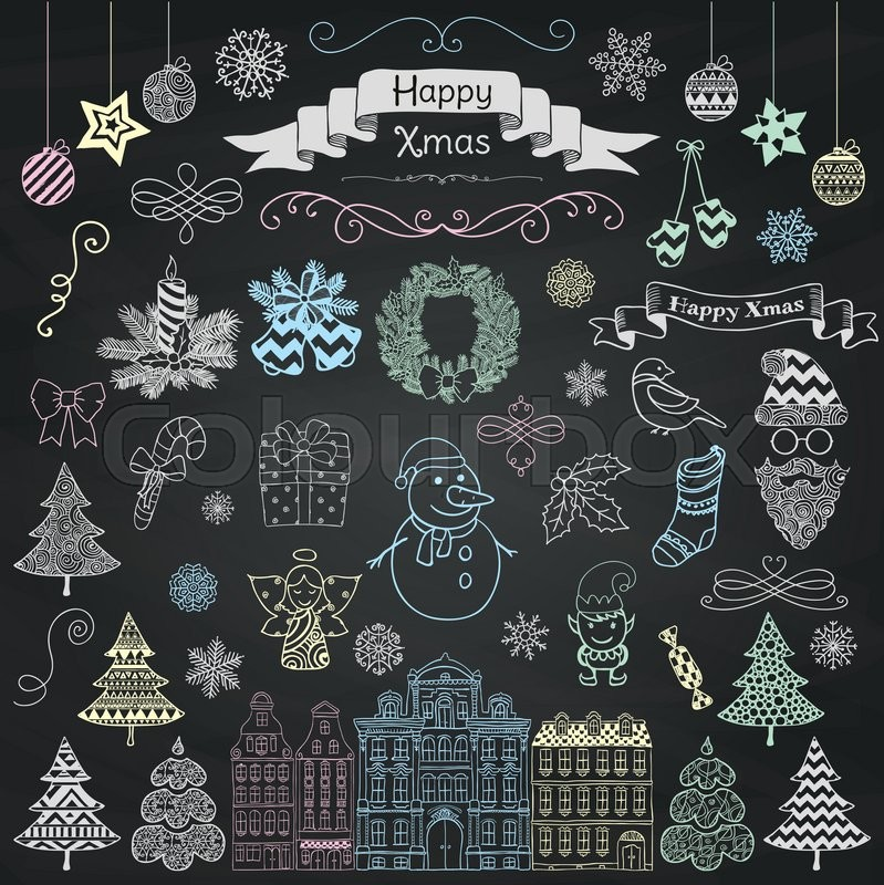 Set of Colorful Hand Drawn Artistic Christmas Doodle Icons on ...