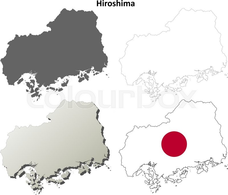 Hiroshima prefecture blank detailed outline map set | Stock Vector ...