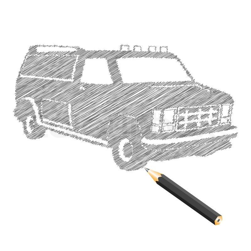 Hand- zu ertränken Auto Skizze , Vektor-Illustration | Vektorgrafik ...