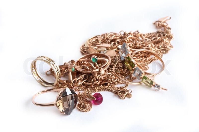 Pile of Jewelry Drawing Pile of Gold Jewelry Isolated