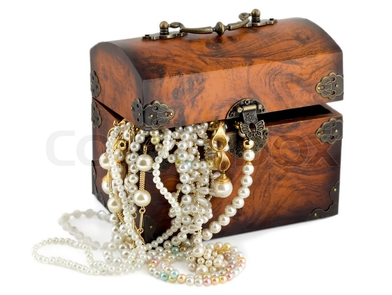 Treasure Chest With Pearl Earrings Stock Photo