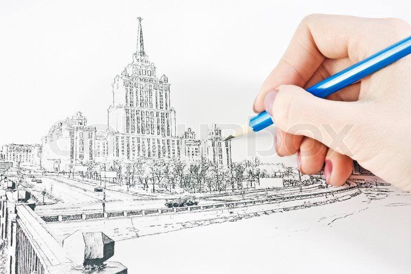Gemeinsame Hand zieht die städtische Landschaft mit einem Bleistift &UZ_26