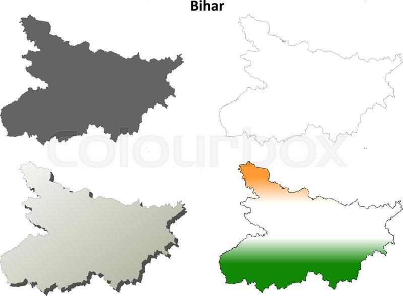 Bihar blank detailed vector outline ... | Stock Vector | Colourbox